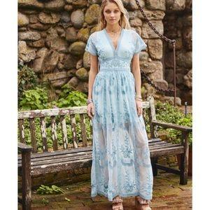Mariska Sea Blue Maxi Dress